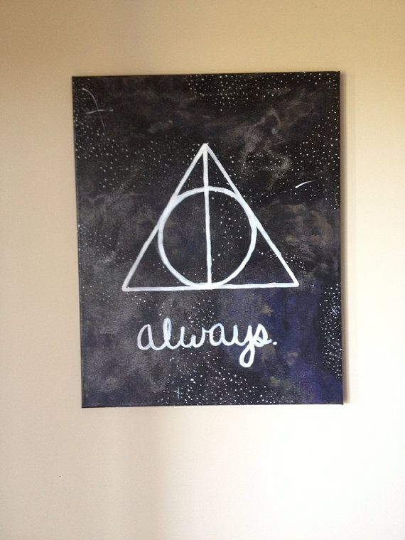 "Harry Potter Galaxy Deathly Hallows Symbol with ""Always"" Quote on Etsy, $30.00"