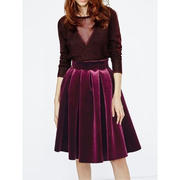 Burgundy High Waist Pocket Velvet Skater Skirt ($50) ❤ liked on Polyvore featuring skirts, burgundy circle skirt, burgundy skater skirt, purple skirt, skater skirts and velvet circle skirt