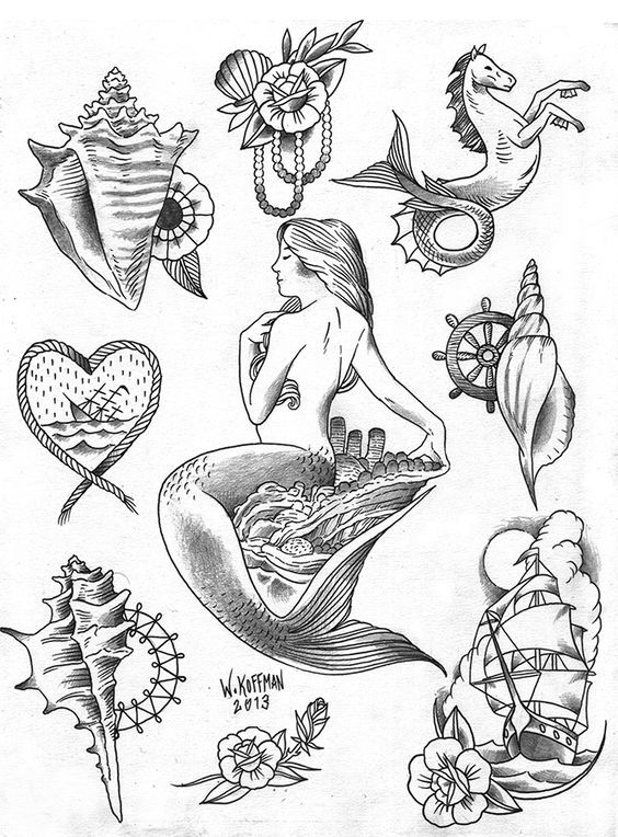 Beach boys and babes - THERE'S STILL TIME to get cute for summer!  Show off the skin you're in with one-of-a-kind tattoos!  Here's the promotion on this sheet of flash (get 'em while you can, each design will only be tattooed once):  Ship or sea-horse: $100.  Mermaid: $220.  Any shell, rope heart/ sinking ship, rose with pearls: $80.  Get at me to claim yours today: (714) 609-7771.      Will Koffman / English Tattoo Company / Newport Beach, CA: