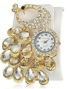 Γυναικεία Diamante Peacock Shape Round Dial PU Band χαλαζία Αναλογικό Ρολόι μόδας