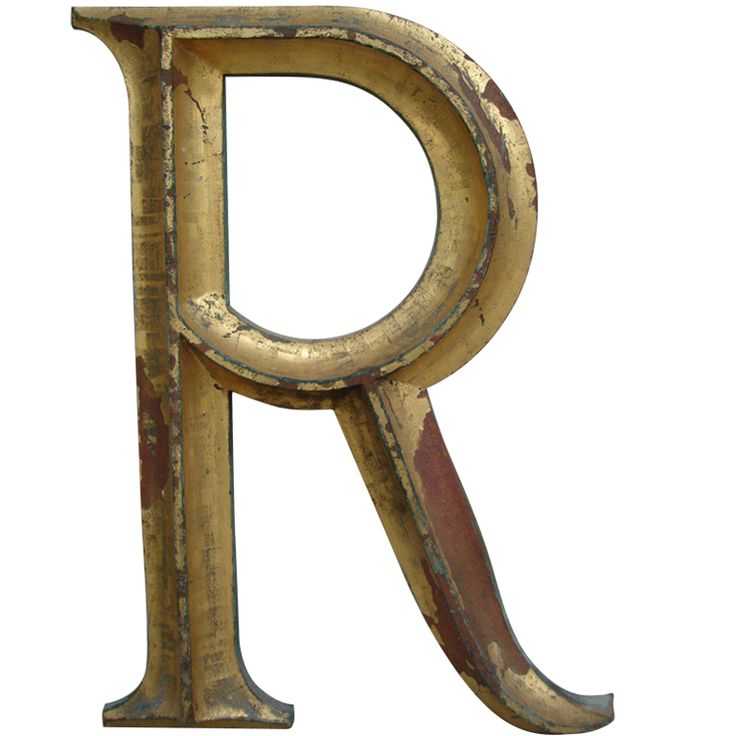 19th c gilded cast iron letter