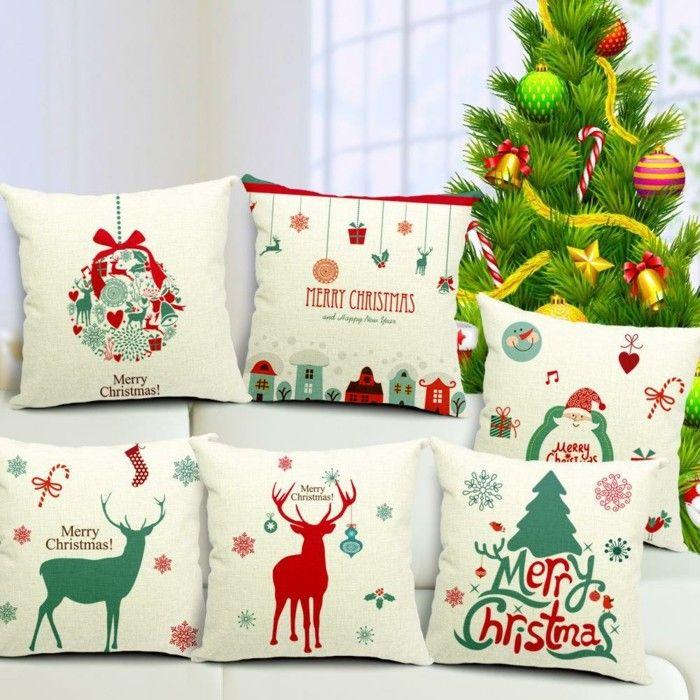 cojines con estampas navideñas para regalar