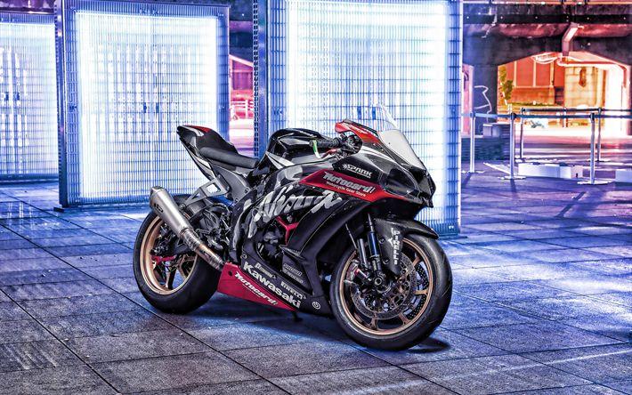Download Tapeten 4k, Kawasaki Ninja ZX-10R, Nacht, 2019 Fahrräder, Superbikes, Straße, japanische Motorräder, neue ZX-10R, Kawasaki   – R1
