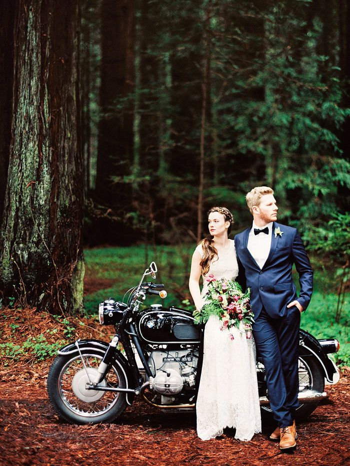 Gorgeous Bride and Groom with a Vintage Motorcycle in the Forest | Perry Vaile Photography | http://heyweddinglady.com/fine-art-adventure-loving-redwood-elopement/