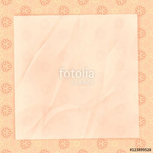 The crumpled form lies on peach wall-paper, with a gentle abstra