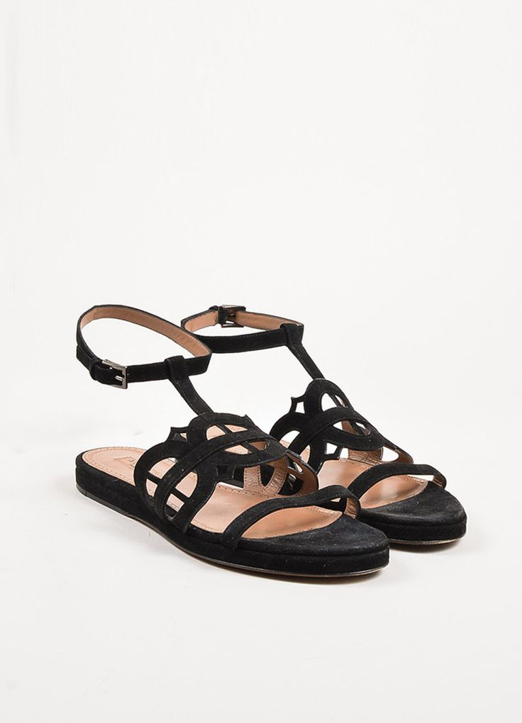 Alaia Black Suede Cut Out Ankle Strap Flat Slide Sandals
