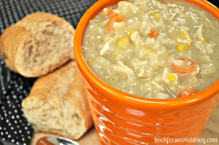 Easy Crock Pot Creamy Chicken and Rice Soup - A Family Favorite!   http://backforsecondsblog.com  #crockpot #soup #easy