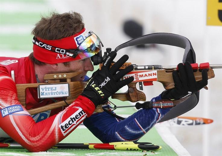 Michal Šlesingr na MS v Ruhpoldingu. Na  dvacetikilometrové trati si dojel pro šesté místo.