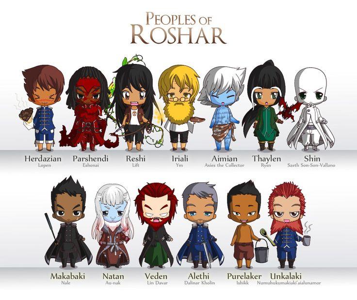 Stormlight Archive / Peoples of Roshar: Herdazian, Parshendi, Reshi, Iriali, Aimian, Thaylen, Shin, Makabaki, Natan, Veden, Alethi, Purelaker, Unkalaki / Mini figures created by the Chibi Maker