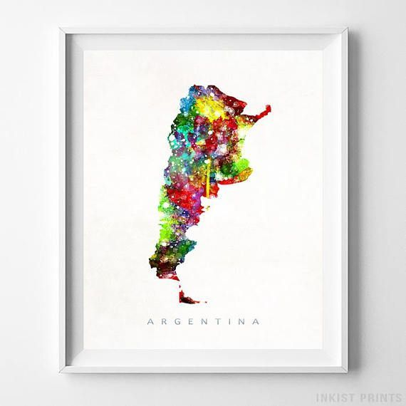 Argentina Watercolor Map Wall Art Print - Prices from $9.95. Click Photo for Details - #giftideas #watercolor #map #christmasgifts #wallart #Argentina