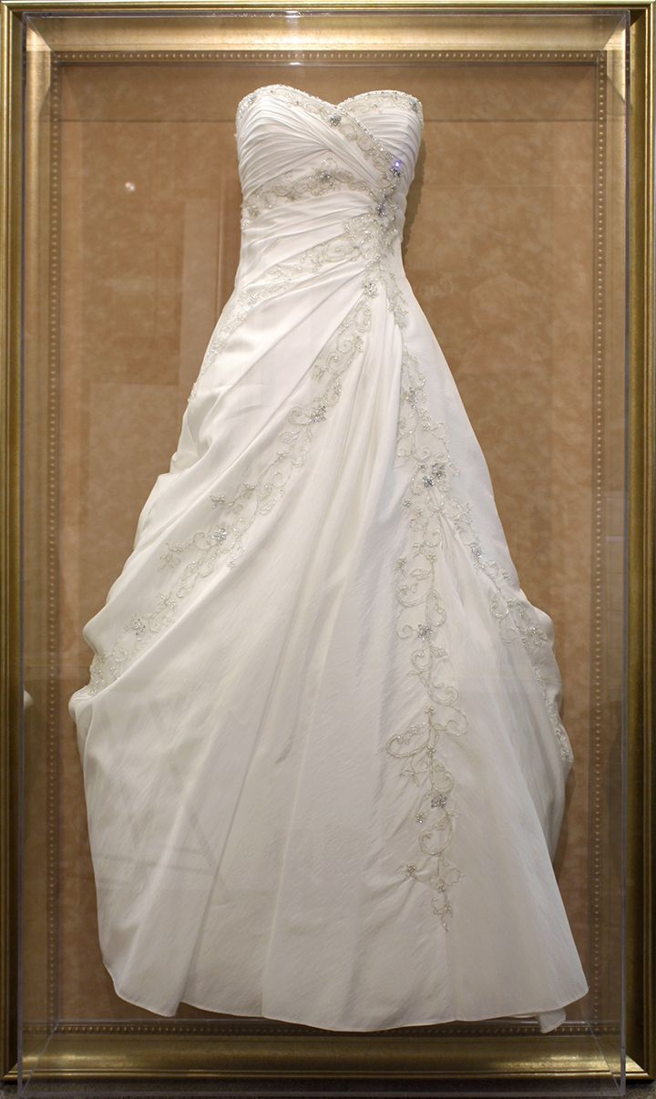 preserve your wedding dress in a custom framed shadowbox perfect way to showcase a gorgeous gown design by art and frame express in edison nj