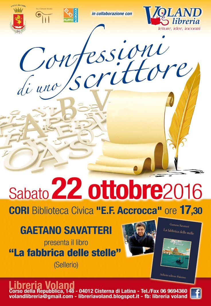Confessioni di uno scrittore: a Cori c'è Gaetano Savatteri con La fabbrica delle stelle. Scopriamo i dettagli della rassegna