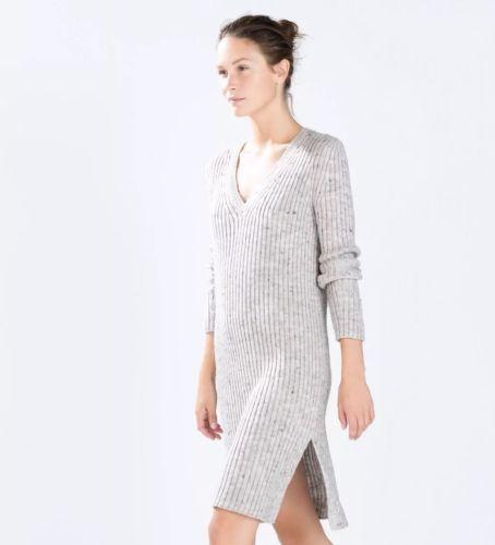 Zara-S-36-Robe-Pull-Maille-Cotele-Col-V-Neuve-Gris