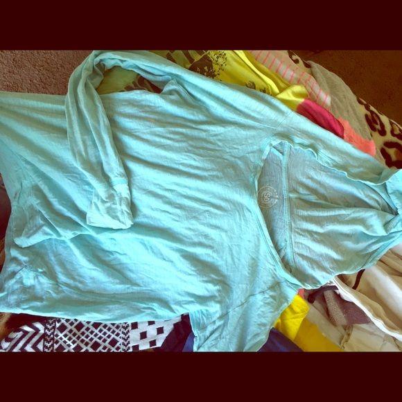 Baby blue long sleeve shirt Has a hood , loose and light weight Tops Tees - Long Sleeve