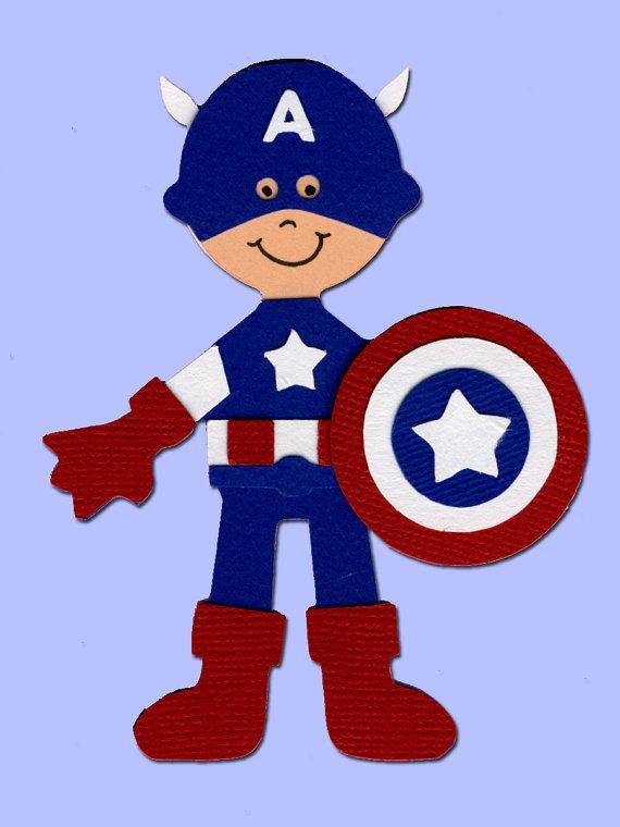 Captain America Super Hero Scrapbook Die Cut Doll Superhero Project Life Silhouette Cameo Cricut