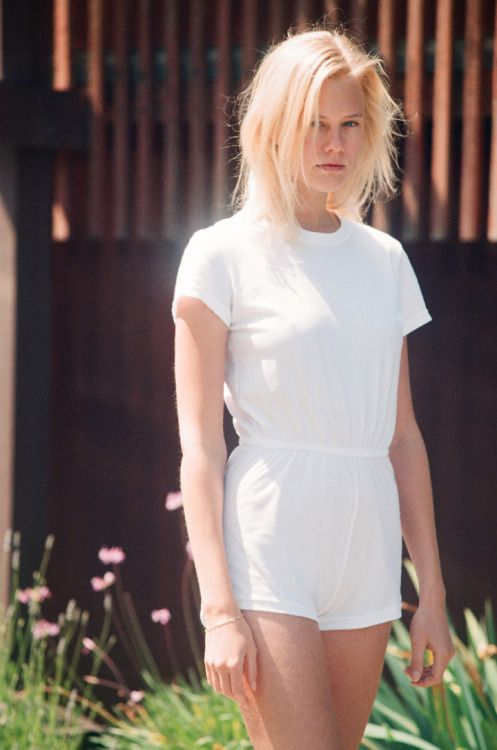 Becca wears The Jersey T-Shirt Romper by American Apparel.