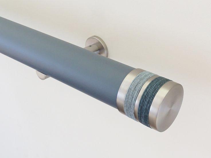 50mm diameter matt lead wooden curtain pole with blue twine Bobbin finials