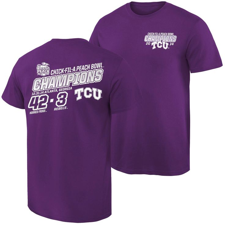 TCU Horned Frogs 2014 Peach Bowl Champions Quick Score T-Shirt - Purple - $18.04