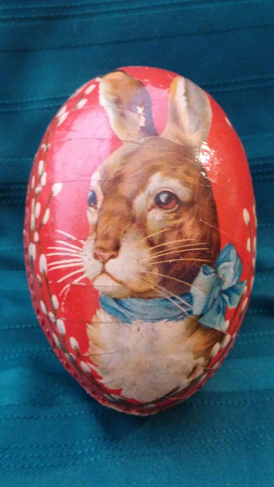 Vintage Papier Mache Easter Egg Container with Bunny Made In Germany