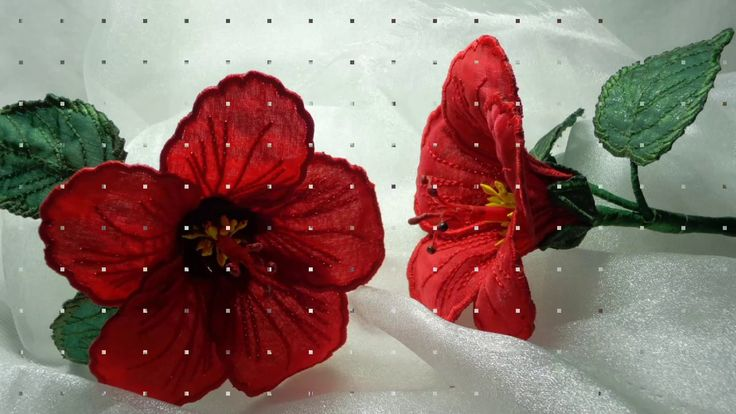 Watch this video on how to make this 3D Fabric Red Hibiscus Flower. Step by step Instructions included. Machine Embroidery Design Patterns. Flower designs. Hibiscus Applique. In the Hoop. Flowermaking. www.embroidershoppe.com