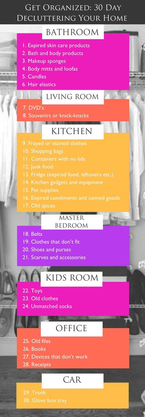 How to Purge Your Home Naturally In 30 Days: All it takes is a few supplies, a day's worth of cleaning and this 30-day plan for organizing and you'll be on your way to a clutter-free life! Learn more at http://www.purefiji.com/blog/diy-home-declutter/ | Home Organization Tips + Ideas | Spring Cleaning | DIY Natural Cleaners