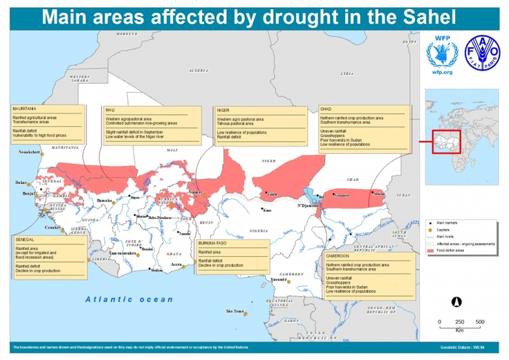Main areas affected by drought in the Sahel (27 March 2012)
