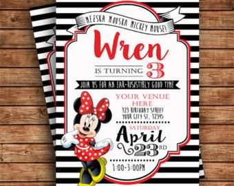 modern trendy black white and red minnie mouse birthday party invitation