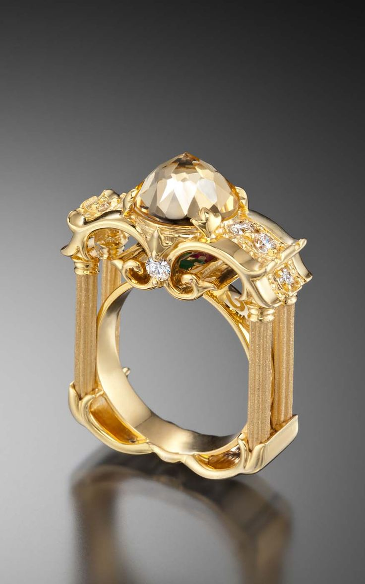 """Another view of one of our favorite DavinChi Cut rings: The """"Column"""" ring with white topaz center. Style 4223."""