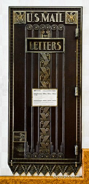 Art Deco black and gold mailbox, Los Angeles