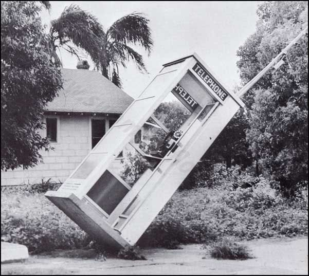 phone booth (Remember those?) in Lakeland after Hurricane Donna, 1960.