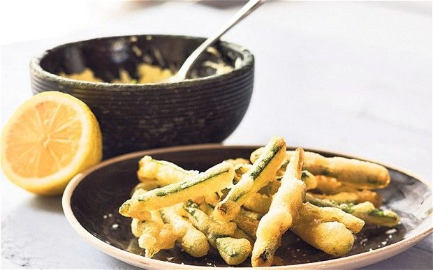Courgette fries with lemon and feta sauce recipe