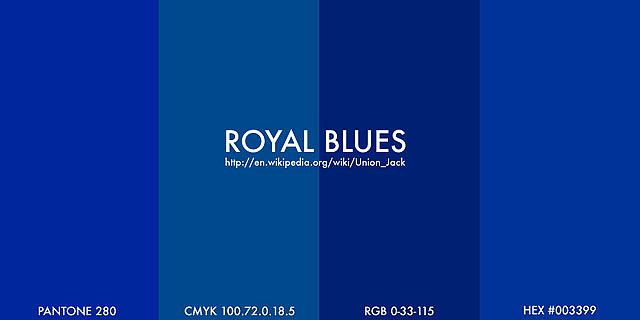 "https://flic.kr/p/51SK4 | royal blues | Wikipedia's article on the Union Jack gives colour specifications for ""Royal Blue"" and cites The Flag Institute's publication ""British Flags & Emblems"".   Union Flag (Royal) Blue: Pantone 280 Web-Safe Hex #003399 RGB 0-33-115 CMYK 100.72.0.18.5 Ministry of Defence 8711D NATO 8305.99.130.4580  A simple demonstration appears to show striking differences between the results of using different formulations available in Pho..."