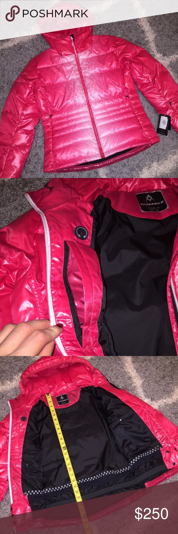 Puffer Down Jacket for Winter Outdoors by Völkl For those who choose quality while enjoying winter activities such as skiing, snowboarding, etc. New with tags. Absolutely gorgeous color. High quality goose down. Plenty of pockets (all of them pictured), adjustable waist, hood. Inner phone pocket large enough for iPhone Plus. Size EUR 40, equivalent US 4. I'm size 2, it fits me perfect. Völkl is a sports equipment manufacturer based in Germany. Initially it manufactured skis, but has extended…