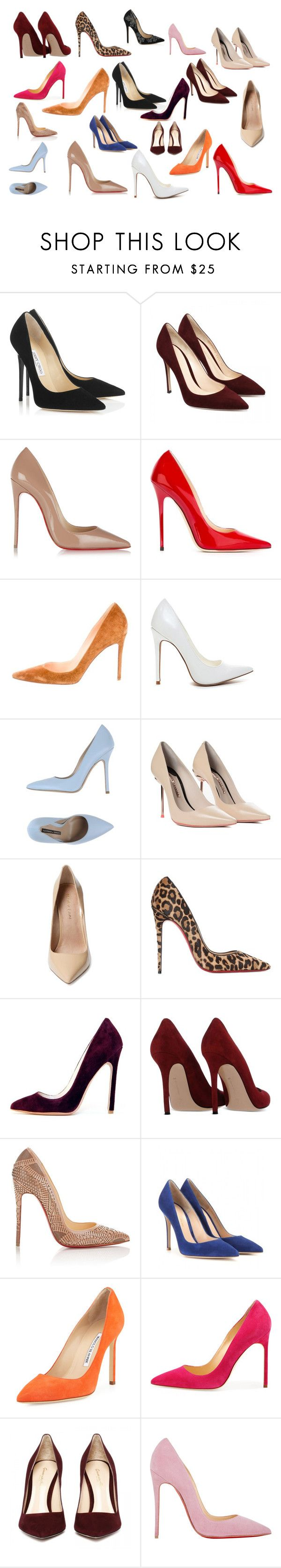 """Pump, pump pump it up"" by rosesanders on Polyvore featuring Jimmy Choo, Christian Louboutin, Norma J.Baker, Sophia Webster, Maiden Lane, Gianvito Rossi and Manolo Blahnik"