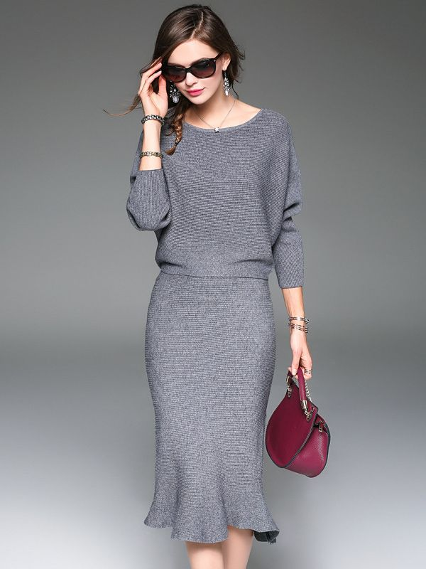 Grey Two-piece Bat Sleeve Fishtail Hem Midi Dress