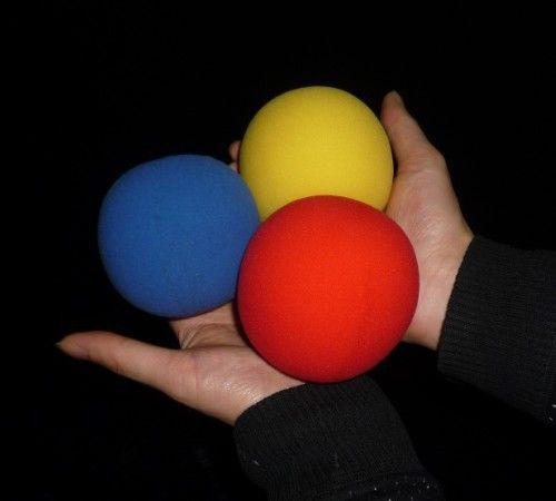 Super spons bal (8 cm) 3 kleur voor kiezen, rood/blauw/geel (20 stks/partij)-truc, gratis verzending, goocheltruc klassieke speelgoed