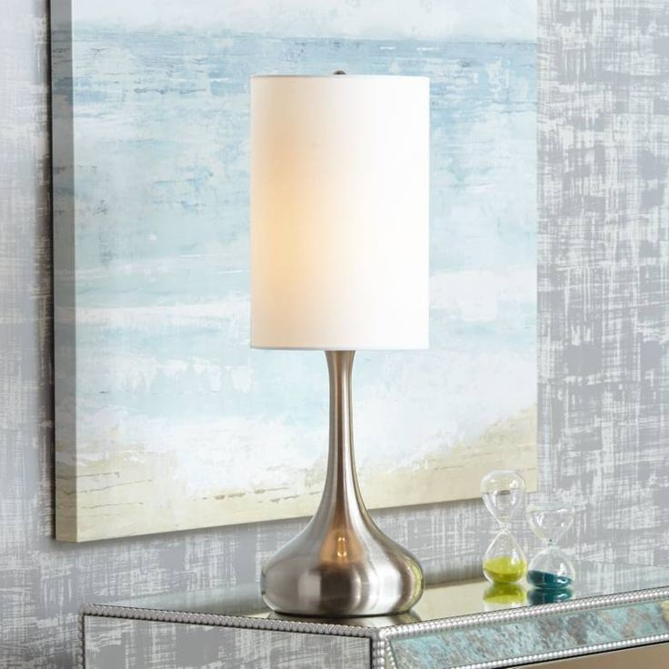 Brushed Nickel Droplet Table Lamp With Cylinder Shade V4325 Lamps Plus Modern Table Lamp Modern Table Lamp Design Table Lamp