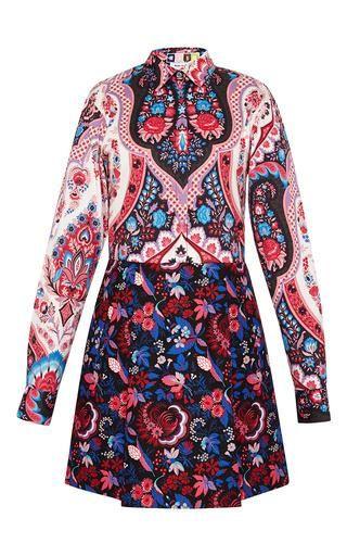 Mixed print long sleeve dress by MSGM Now Available on Moda Operandi