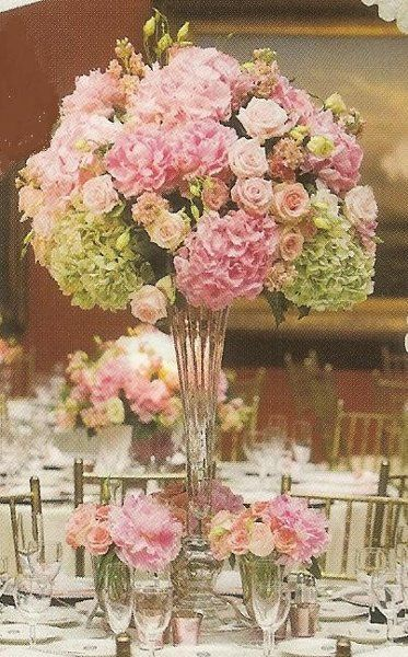 pictures of very tall floral arrangement centerpieces using hydrangeas | Wedding Flowers Photos