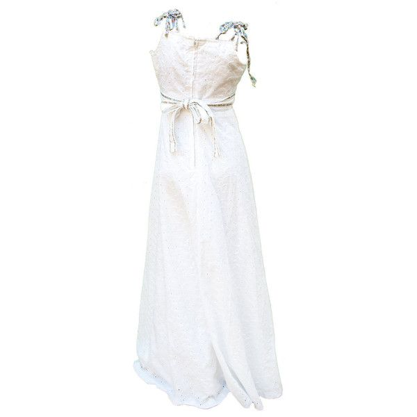 1960s XXS Dress Peasant Summer Boho Hippie Petite Teen Maxi White... ($99) ❤ liked on Polyvore featuring dresses, petite summer dresses, boho maxi dress, white beach dresses, petite maxi dresses and cotton maxi dress