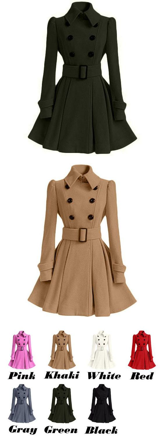 Cute Fall Winter Middle Style Double-breasted Standing Collar Pleated Skirt Slim Woolen Overcoat for big sale! #slim #coat #slim #skirt #winter #women