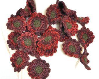 Sciarpa di Redshade fiore Crochet floreale Holiday - rosso-