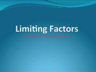 Carrying Capacity and Limiting Factors Defined
