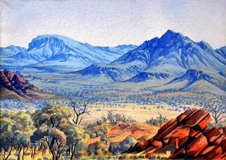 Albert Namatjira. Namatjira's richly detailed, Western art-influenced watercolours of the outback departed significantly from the abstract designs and symbols of traditional Aboriginal art, and inspired the Hermannsburg School of painting. He became a household name in Australia—indeed, reproductions of his works hung in many homes throughout the nation—and he was publicly regarded as a model Aborigine who had succeeded in mainstream society.