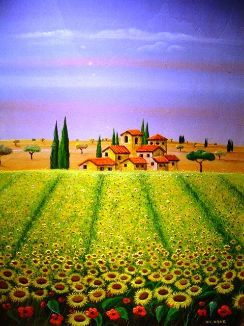 39 zenone 39 emilio giunchi italian artist art naive art for Disegni colorati paesaggi