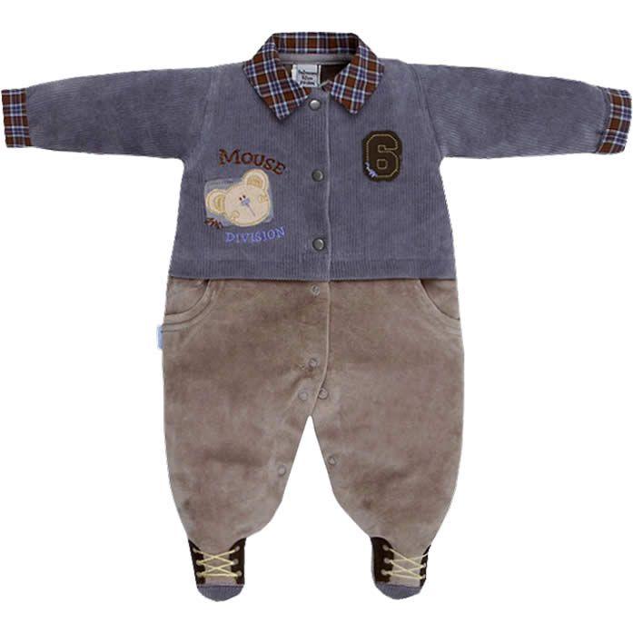 Macacão Longo para Bebê Menino em Plush Cinza - Sonho Mágico :: 764 Kids | Roupa bebê e infantil