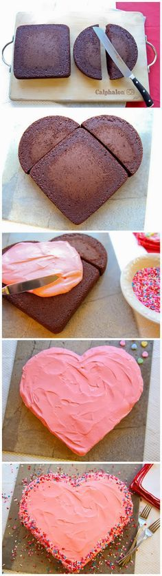 How to Make a Valentine's Day Heart-Shaped Cake good idea instead of buying one☺