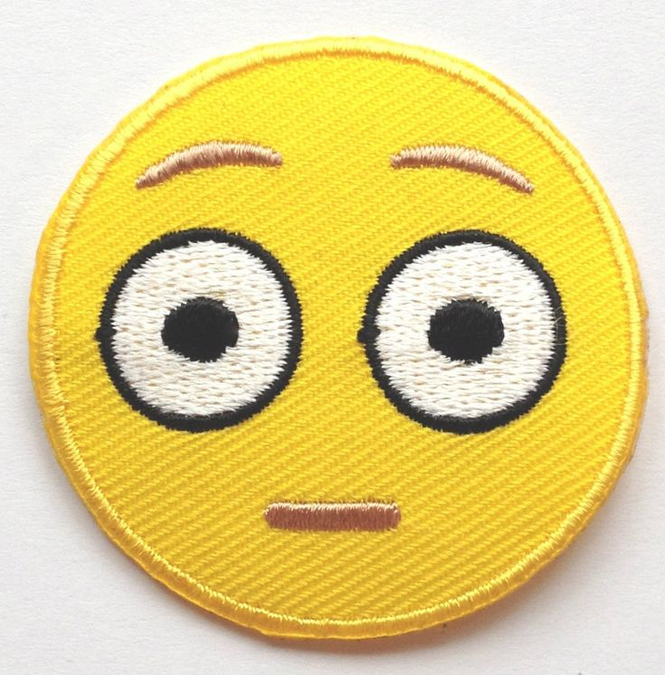 Shocked Emoji Patch Embroidered Iron on Badge Applique Motif DIY Customize Bag Hat T-Shirt Collectible Fun Cool Text Big Eyes Flushing Face ** Learn more by visiting the image link.