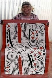 Ningura born around 1938 at Watulka moved to Papunya in the early days of the settlement with her husband Yala Yala Gibbs Tjungurrayi. After learning her trade whilst doing the background dotting on Yala Yala's works, she took up painting. She had her first solo exhibition with William Mora Aboriginal Art in 2000 and participated in the impressive Kintore Women's Painting for the Papunya Tula retrospective at the Art Gallery of NSW.