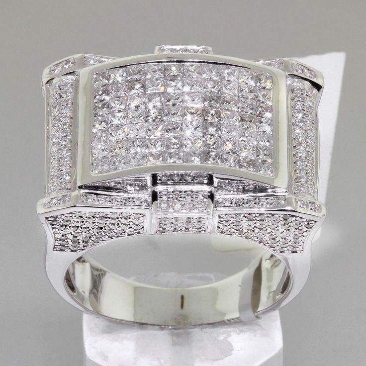 3.4 TCW Unique Mens Diamond Pinky Ring in White Gold #DiamondsByAl #Signet